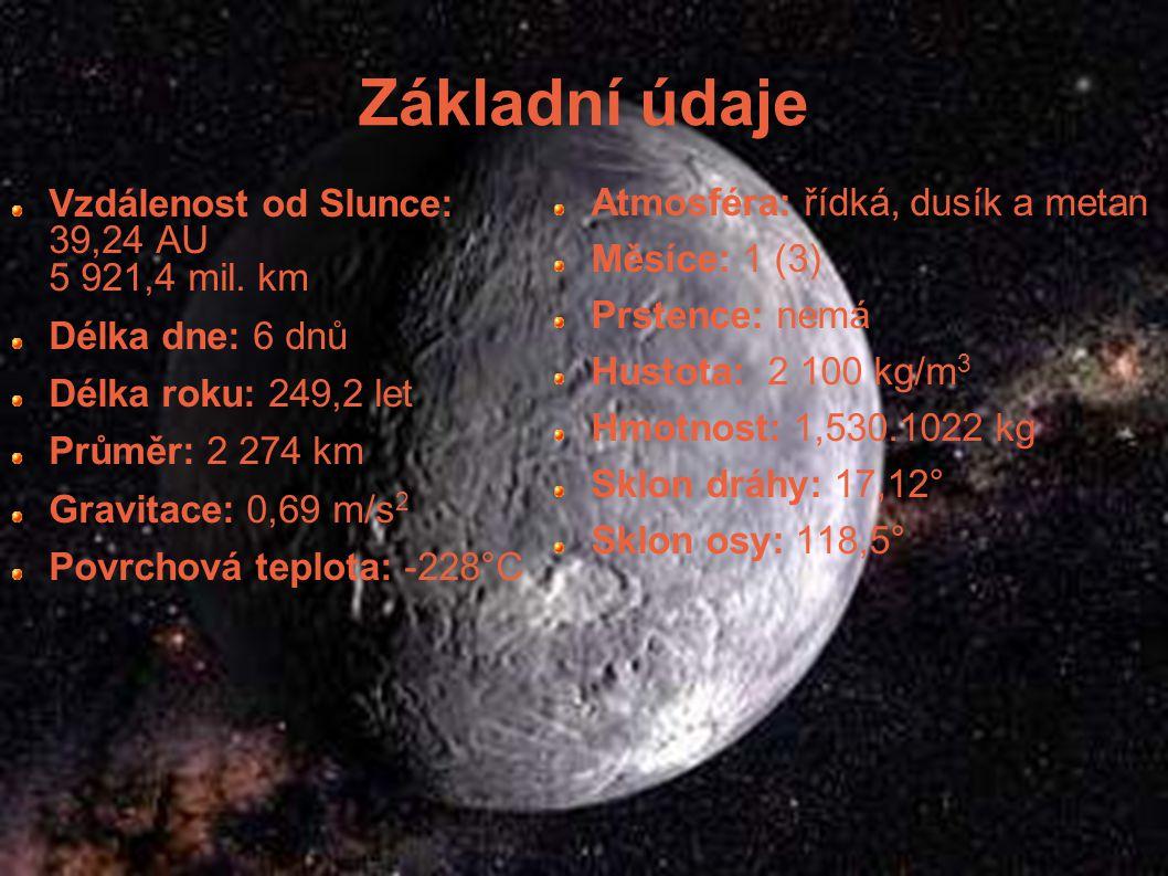 Základní údaje Vzdálenost od Slunce: 39,24 AU 5 921,4 mil. km