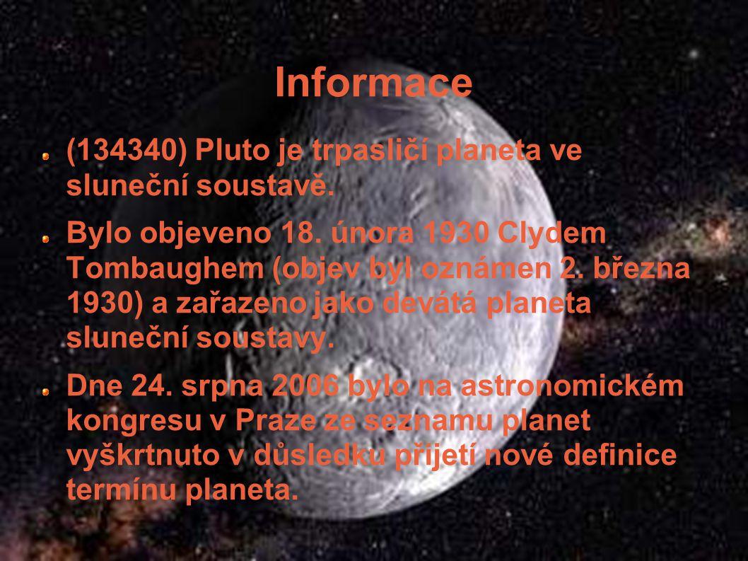 Informace (134340) Pluto je trpasličí planeta ve sluneční soustavě.