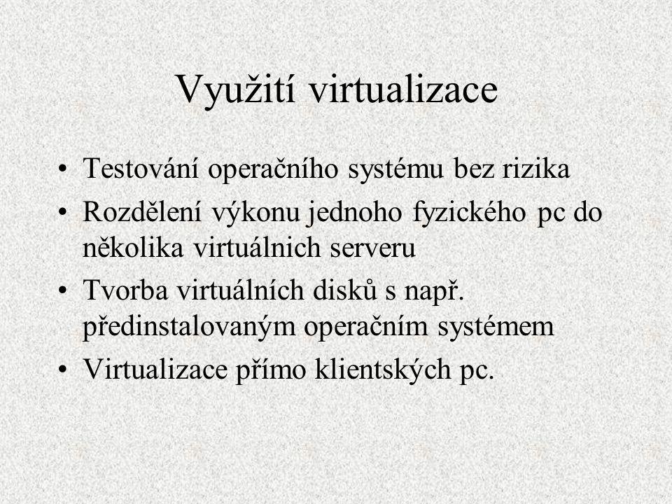 Využití virtualizace Testování operačního systému bez rizika