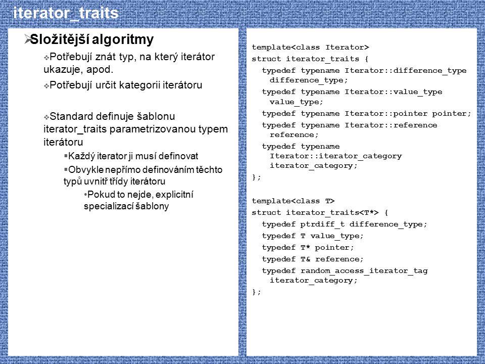 iterator_traits Složitější algoritmy