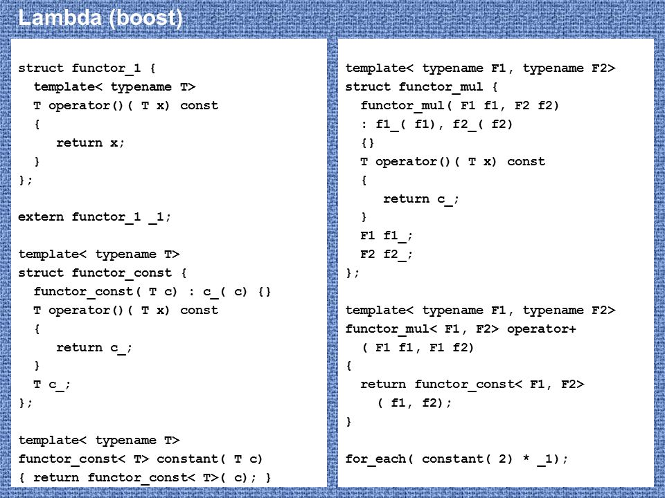Lambda (boost) struct functor_1 { template< typename T>