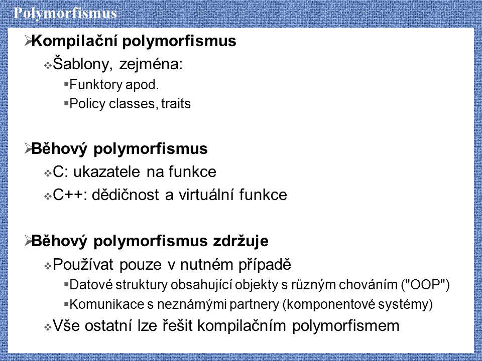 Kompilační polymorfismus Šablony, zejména: