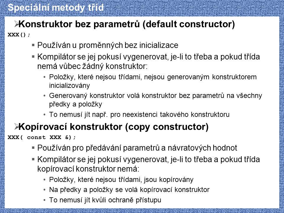 Konstruktor bez parametrů (default constructor)