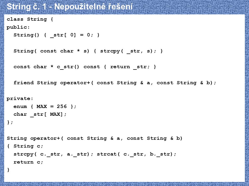 String č. 1 - Nepoužitelné řešení