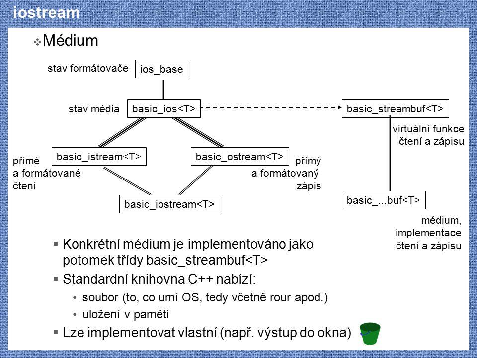 iostream Médium. Konkrétní médium je implementováno jako potomek třídy basic_streambuf<T> Standardní knihovna C++ nabízí:
