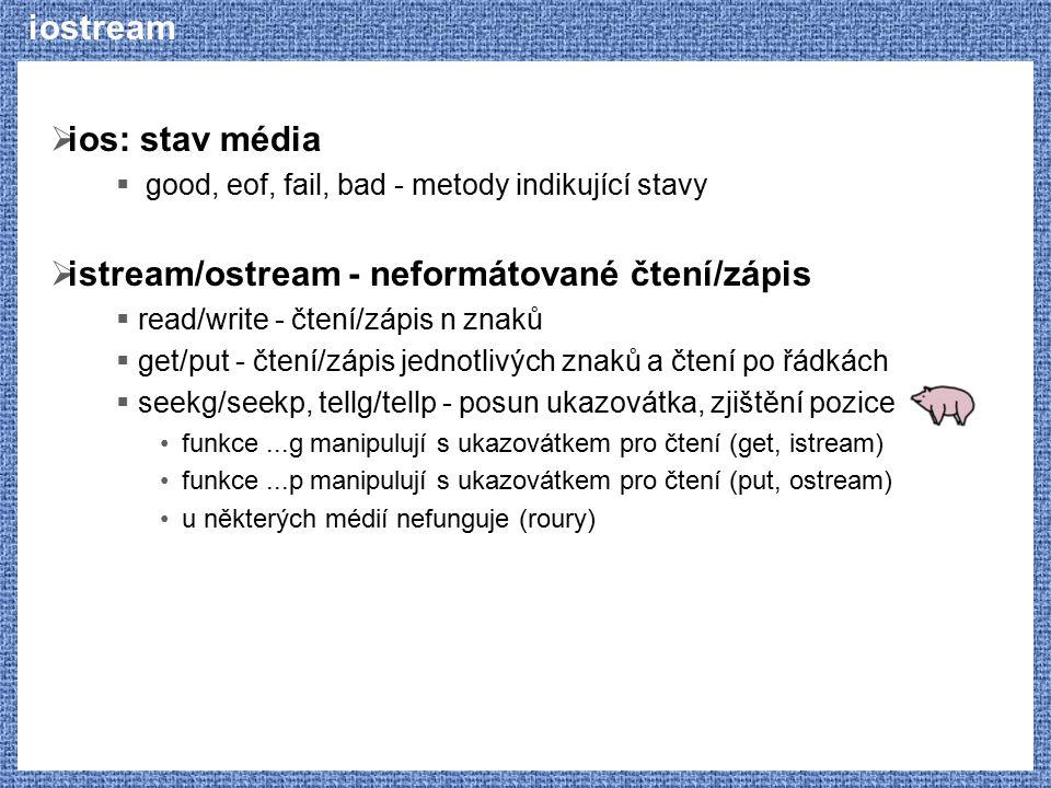 istream/ostream - neformátované čtení/zápis