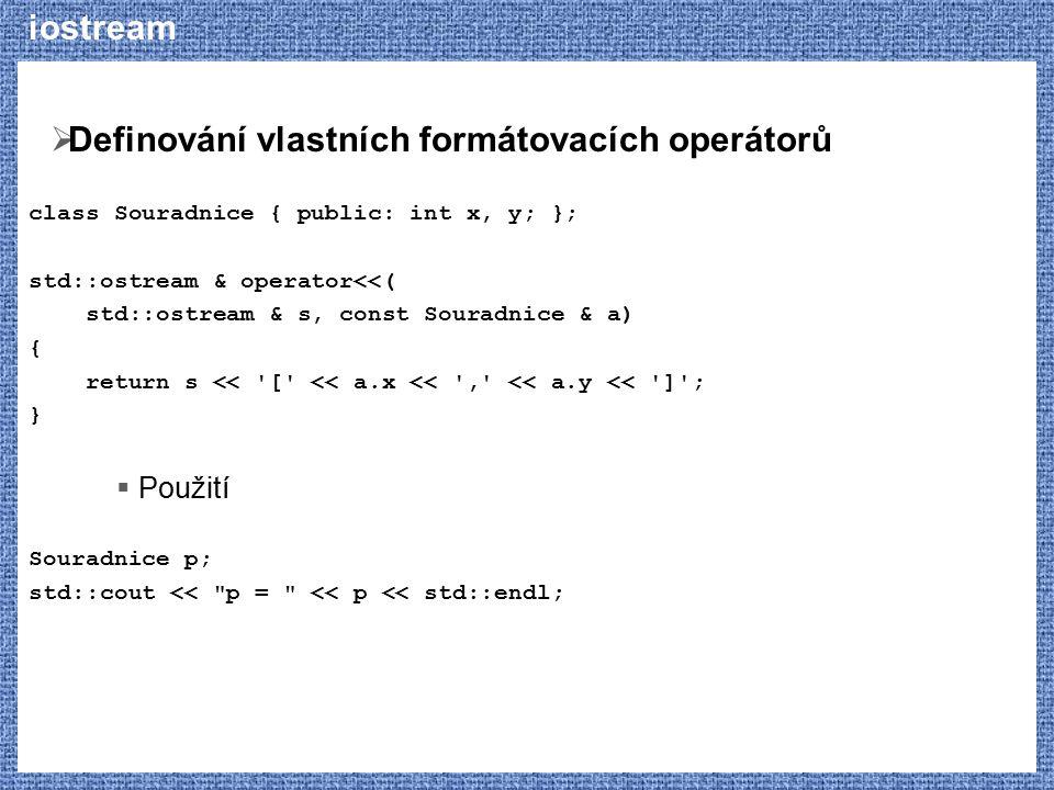 Definování vlastních formátovacích operátorů