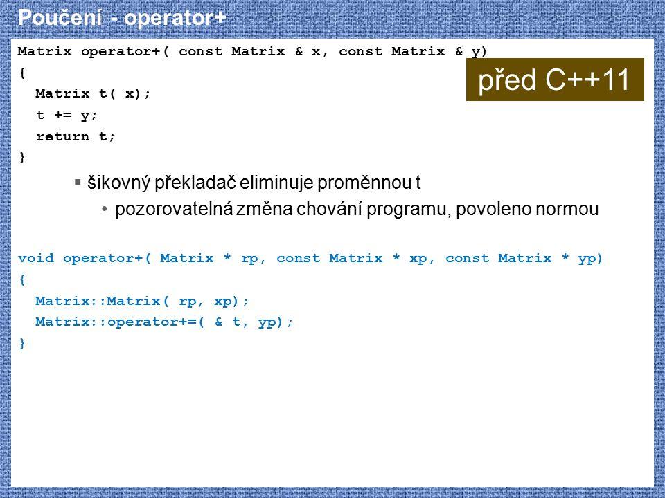 před C++11 Poučení - operator+ šikovný překladač eliminuje proměnnou t