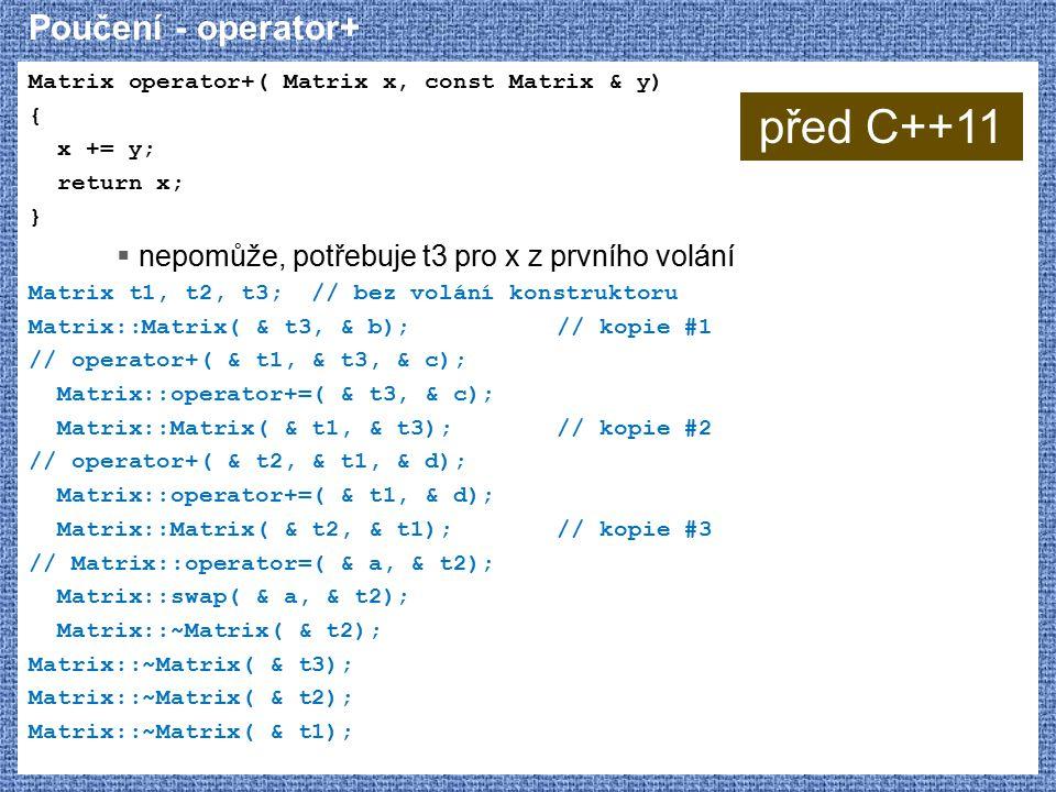 před C++11 Poučení - operator+