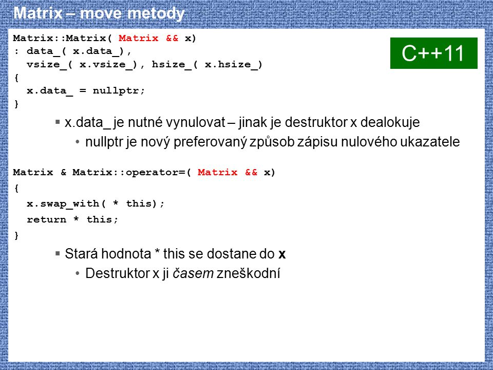 C++11 Matrix – move metody