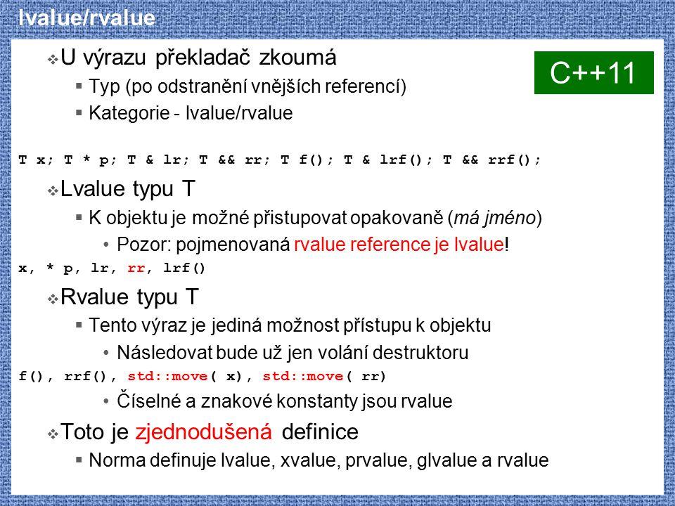 C++11 lvalue/rvalue U výrazu překladač zkoumá Lvalue typu T