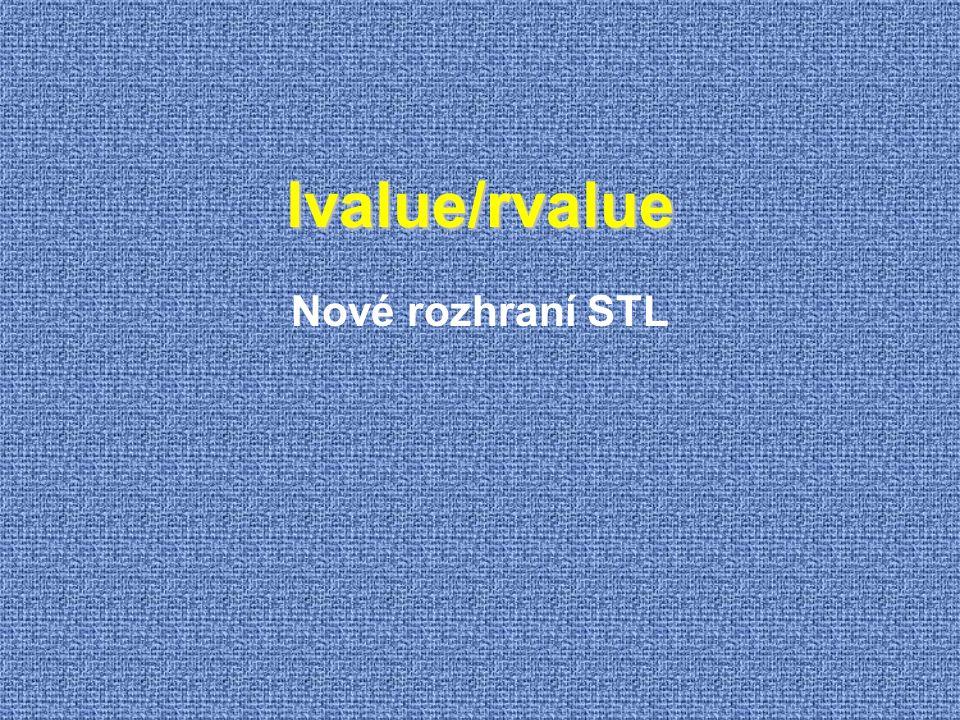 lvalue/rvalue Nové rozhraní STL