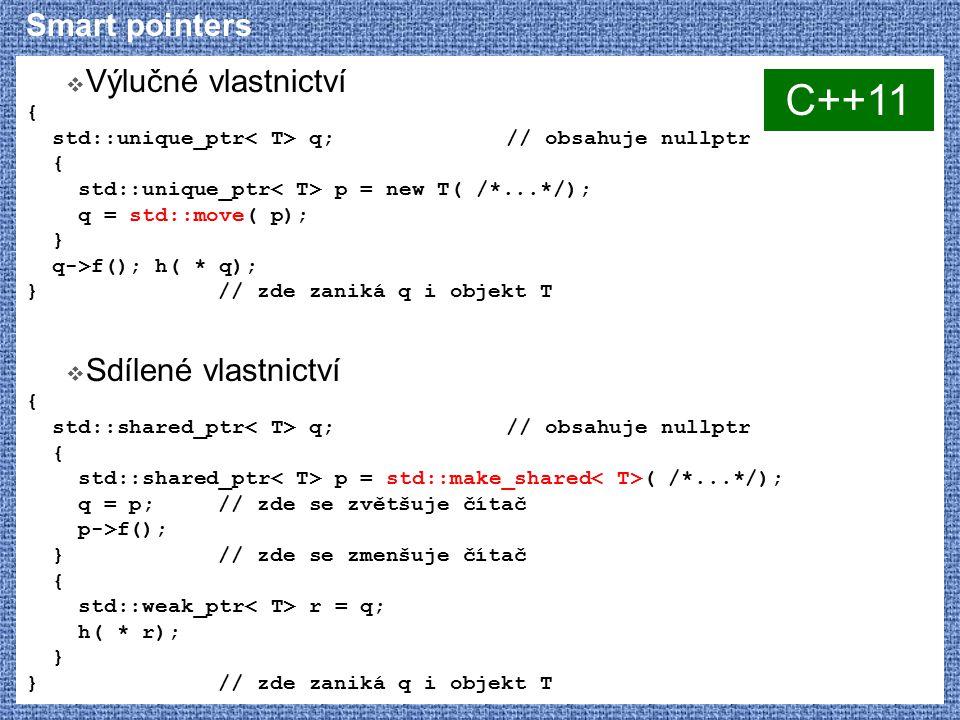 C++11 Smart pointers Výlučné vlastnictví Sdílené vlastnictví {