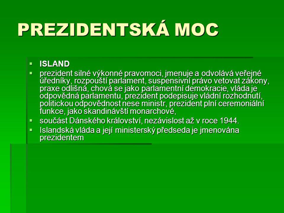 PREZIDENTSKÁ MOC ISLAND