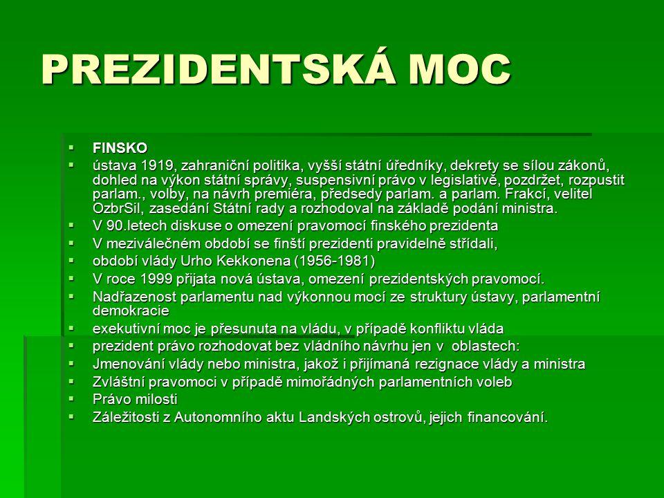 PREZIDENTSKÁ MOC FINSKO