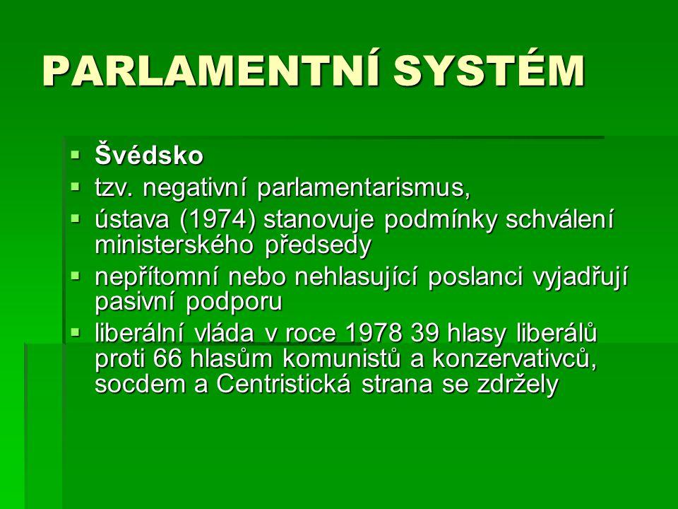 PARLAMENTNÍ SYSTÉM Švédsko tzv. negativní parlamentarismus,