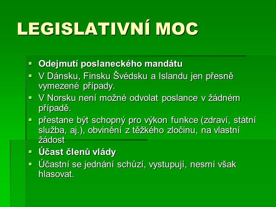 LEGISLATIVNÍ MOC Odejmutí poslaneckého mandátu