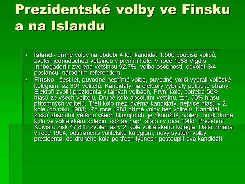 Prezidentské volby ve Finsku a na Islandu