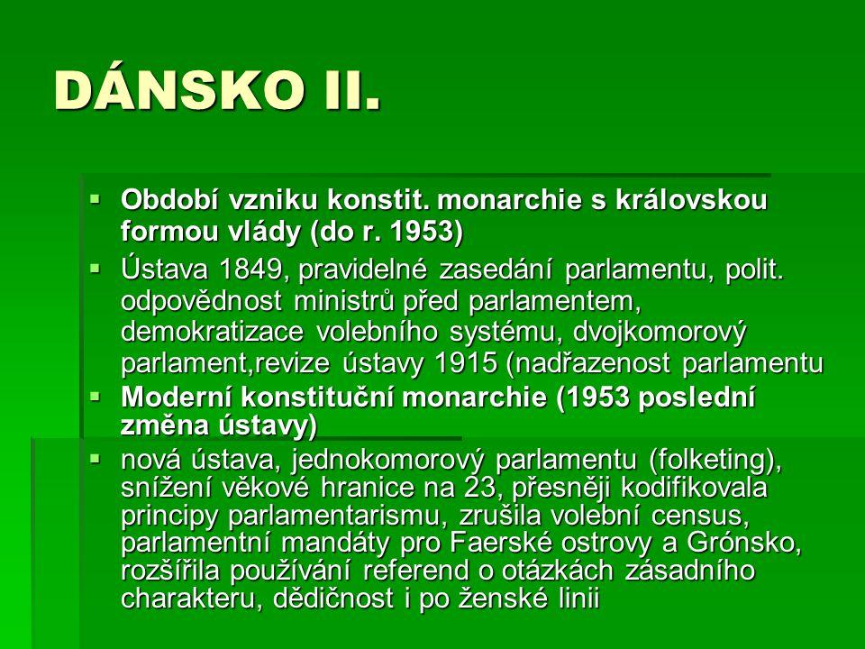 DÁNSKO II. Období vzniku konstit. monarchie s královskou formou vlády (do r. 1953)