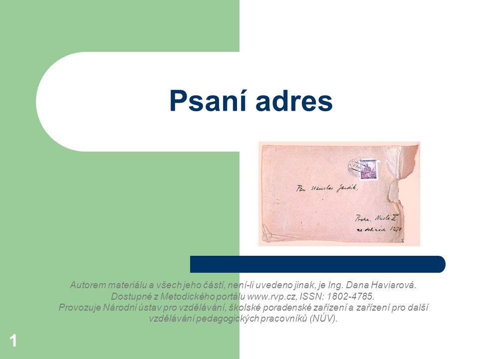 Psaní adres