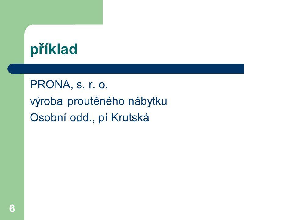 příklad PRONA, s. r. o. výroba proutěného nábytku
