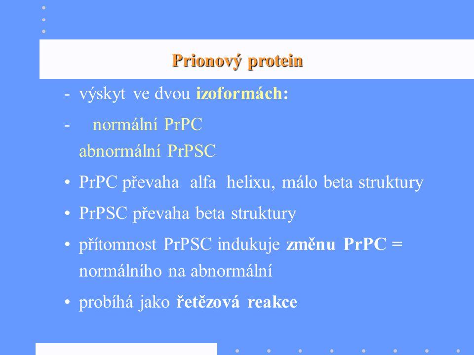 Prionový protein výskyt ve dvou izoformách: normální PrPC abnormální PrPSC.