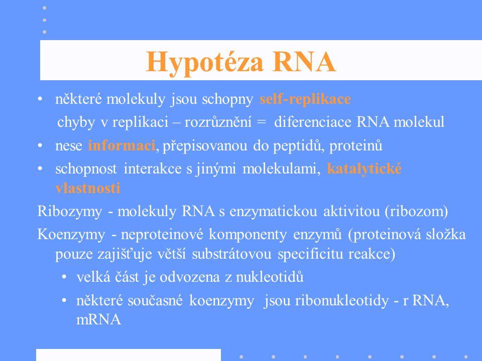 Hypotéza RNA některé molekuly jsou schopny self-replikace