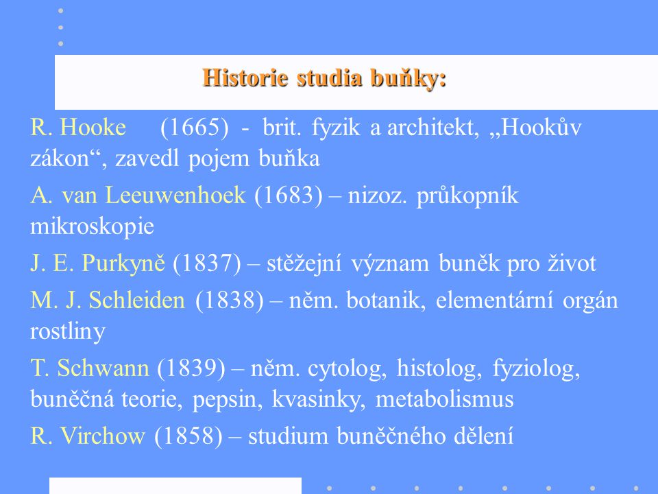 Historie studia buňky: