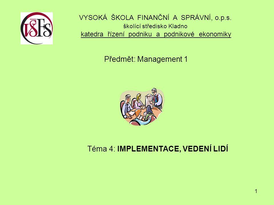 Předmět: Management 1 Téma 4: IMPLEMENTACE, VEDENÍ LIDÍ