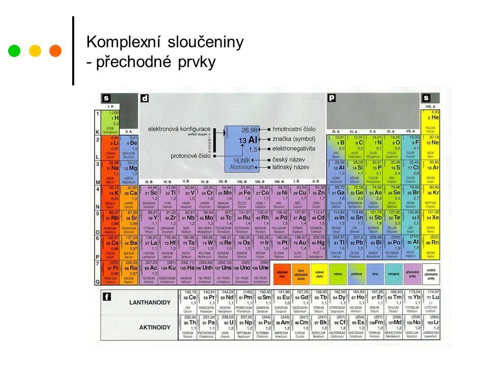 Komplexní sloučeniny - přechodné prvky