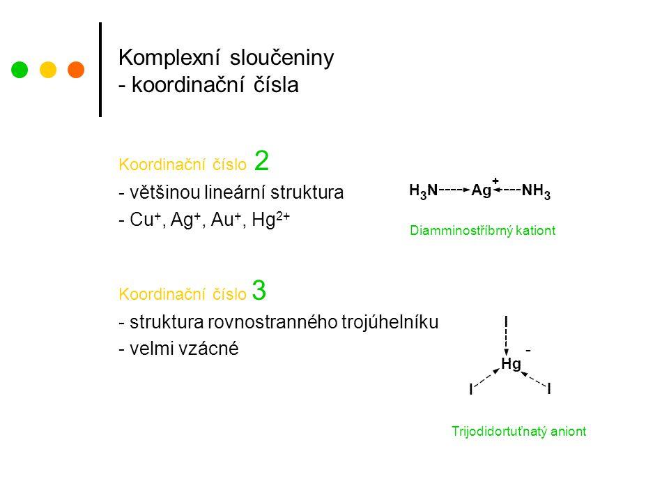 Komplexní sloučeniny - koordinační čísla