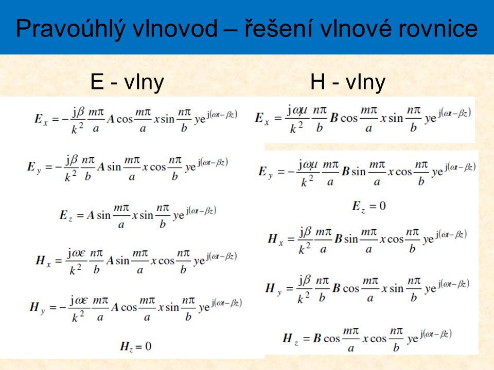 Pravoúhlý vlnovod – řešení vlnové rovnice