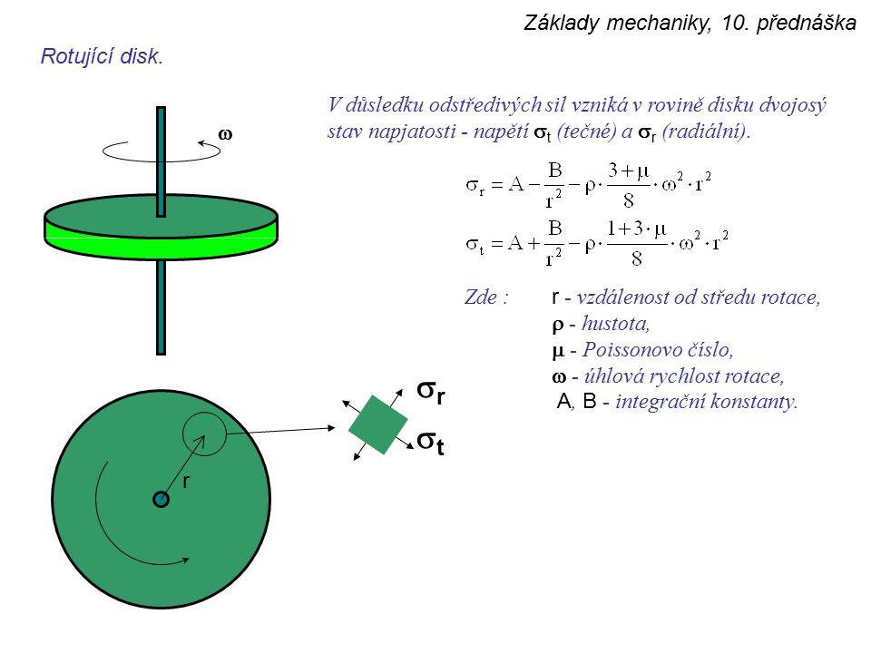 sr st Základy mechaniky, 10. přednáška Rotující disk.