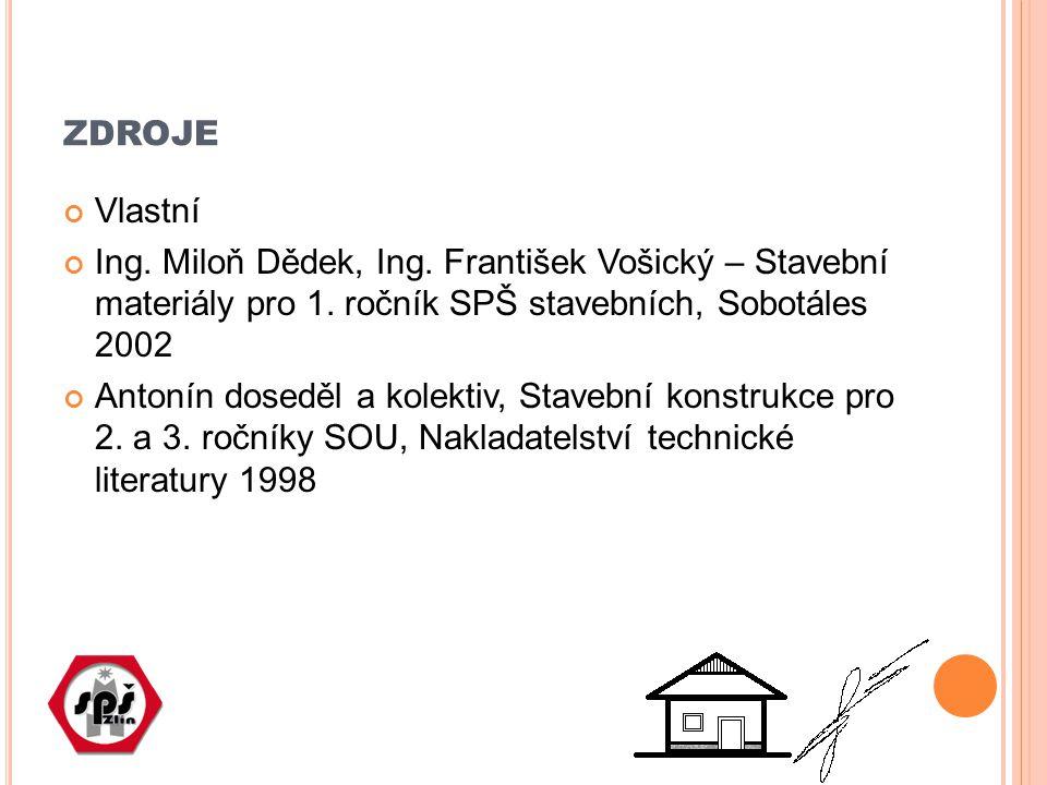 zdroje Vlastní. Ing. Miloň Dědek, Ing. František Vošický – Stavební materiály pro 1. ročník SPŠ stavebních, Sobotáles 2002.