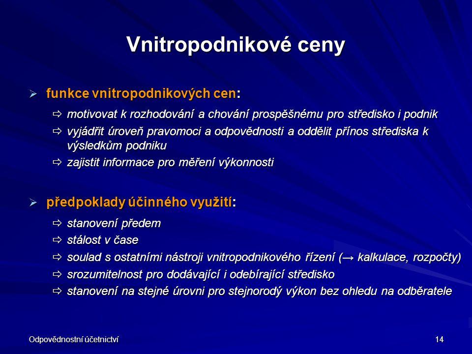 Vnitropodnikové ceny funkce vnitropodnikových cen: