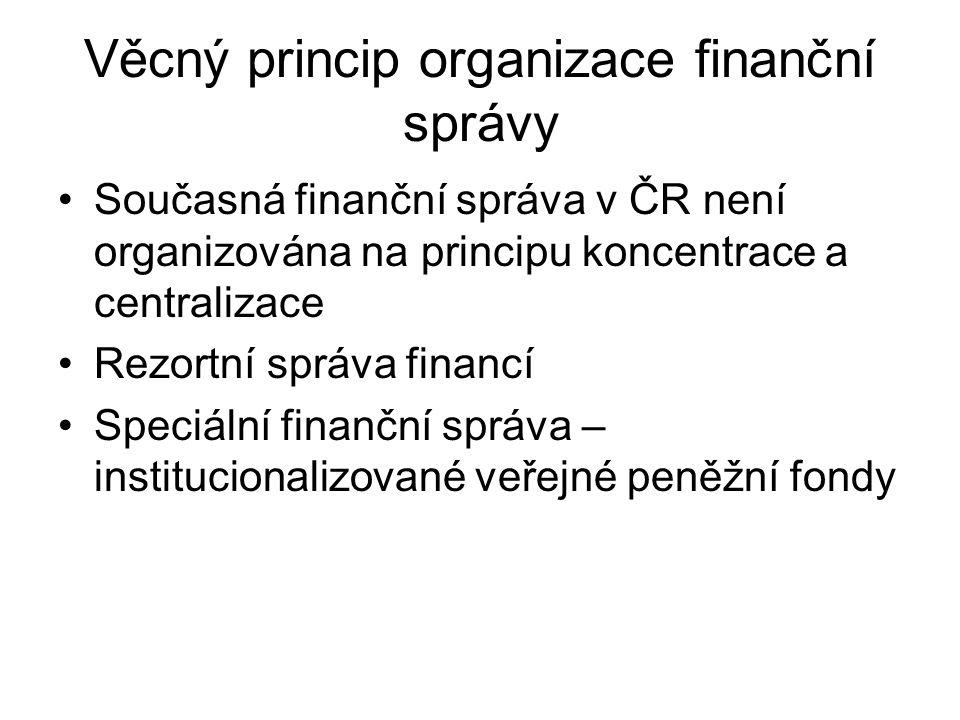 Věcný princip organizace finanční správy