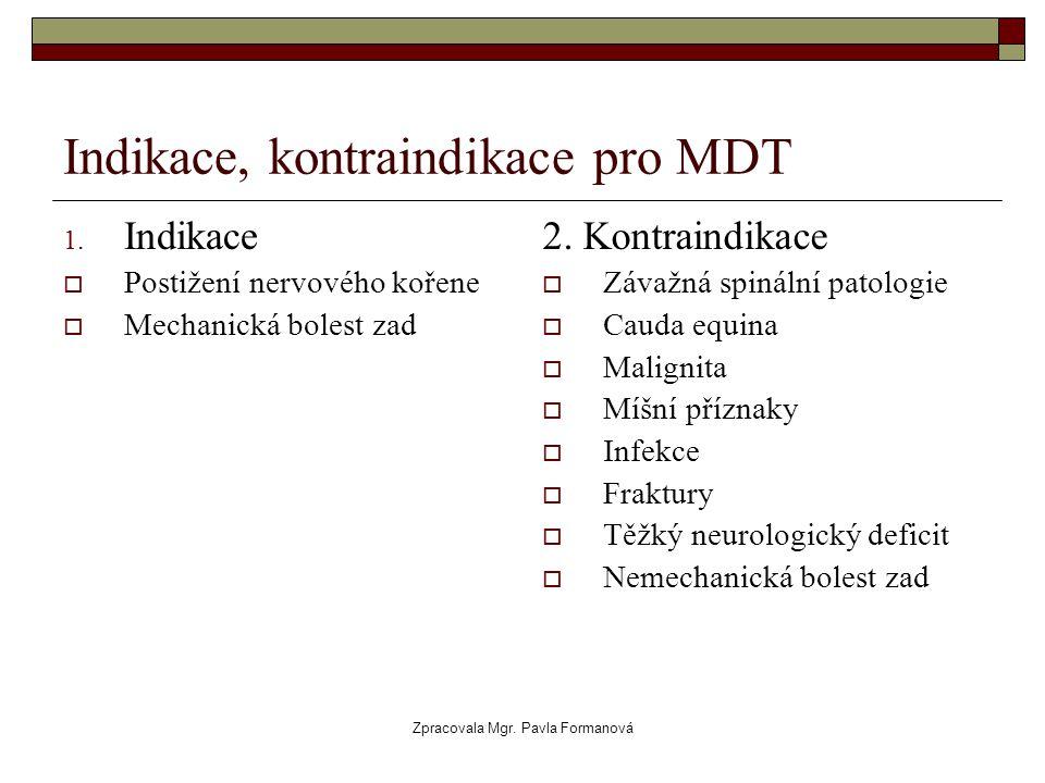 Indikace, kontraindikace pro MDT