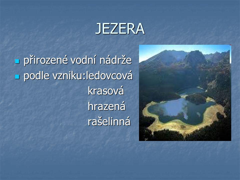 JEZERA přirozené vodní nádrže podle vzniku:ledovcová krasová hrazená