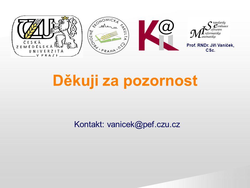 Děkuji za pozornost Prof. RNDr. Jiří Vaníček, CSc.