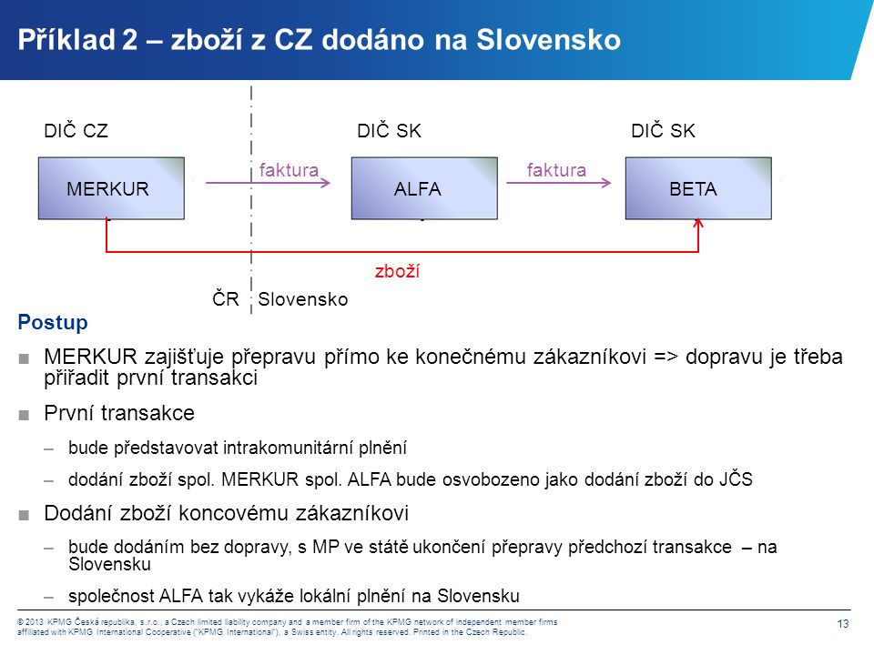 Příklad 3 – zboží z CZ pro SK zákazníka dodáno v ČR