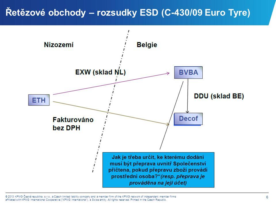 Řetězové obchody – rozsudky ESD (C-430/09 Euro Tyre)