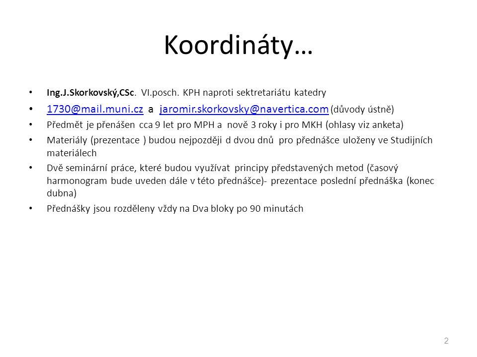 Koordináty… Ing.J.Skorkovský,CSc. VI.posch. KPH naproti sektretariátu katedry. 1730@mail.muni.cz a jaromir.skorkovsky@navertica.com (důvody ústně)