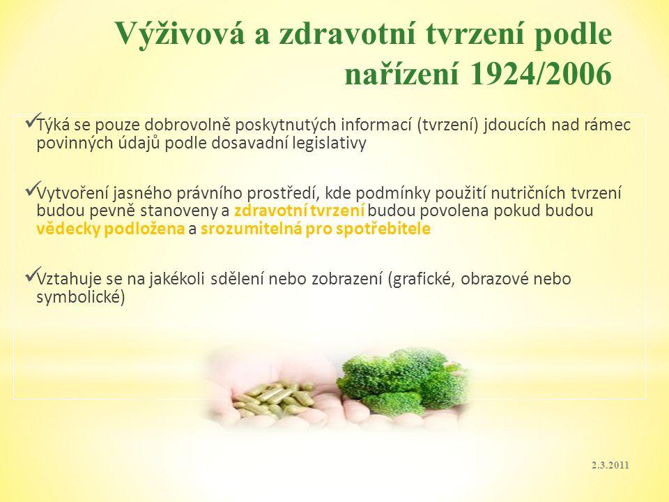 Výživová a zdravotní tvrzení podle nařízení 1924/2006