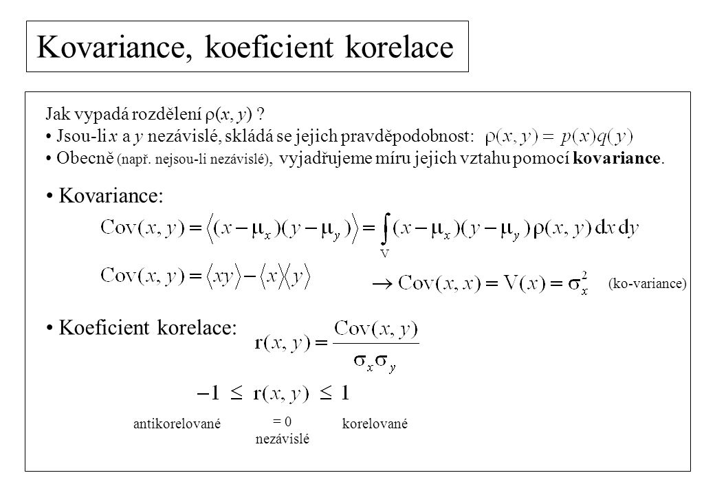 Kovariance, koeficient korelace