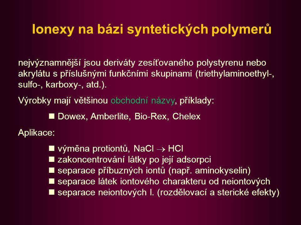 Ionexy na bázi syntetických polymerů