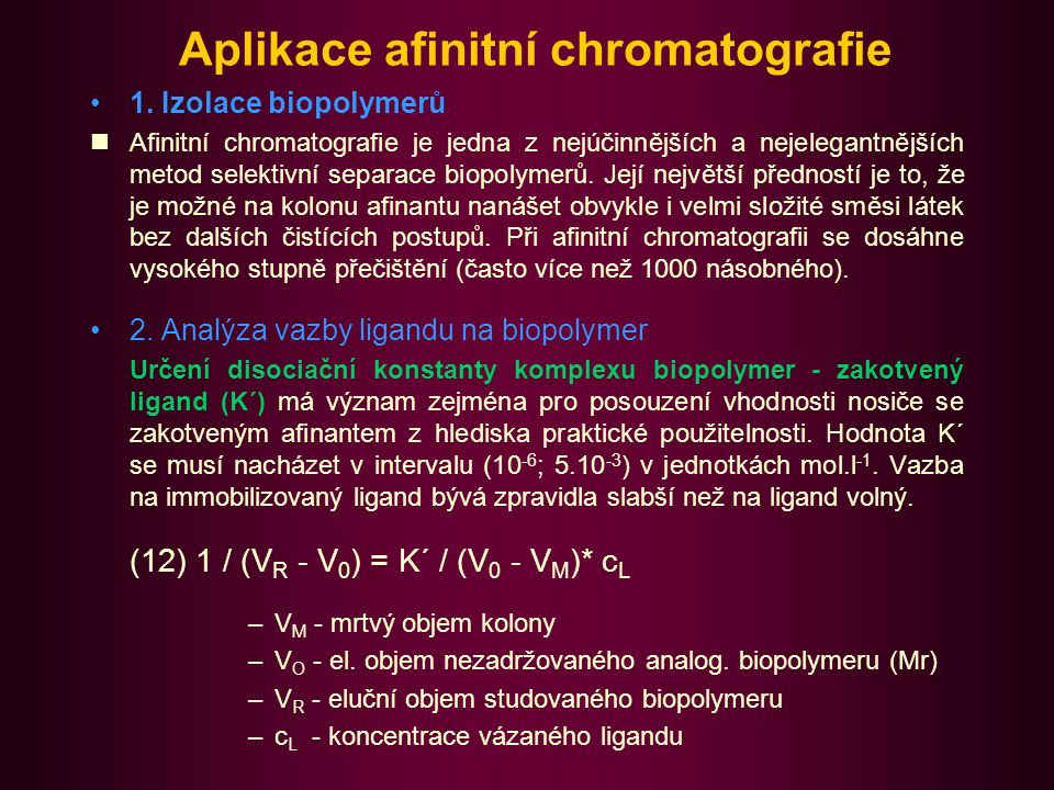 Aplikace afinitní chromatografie