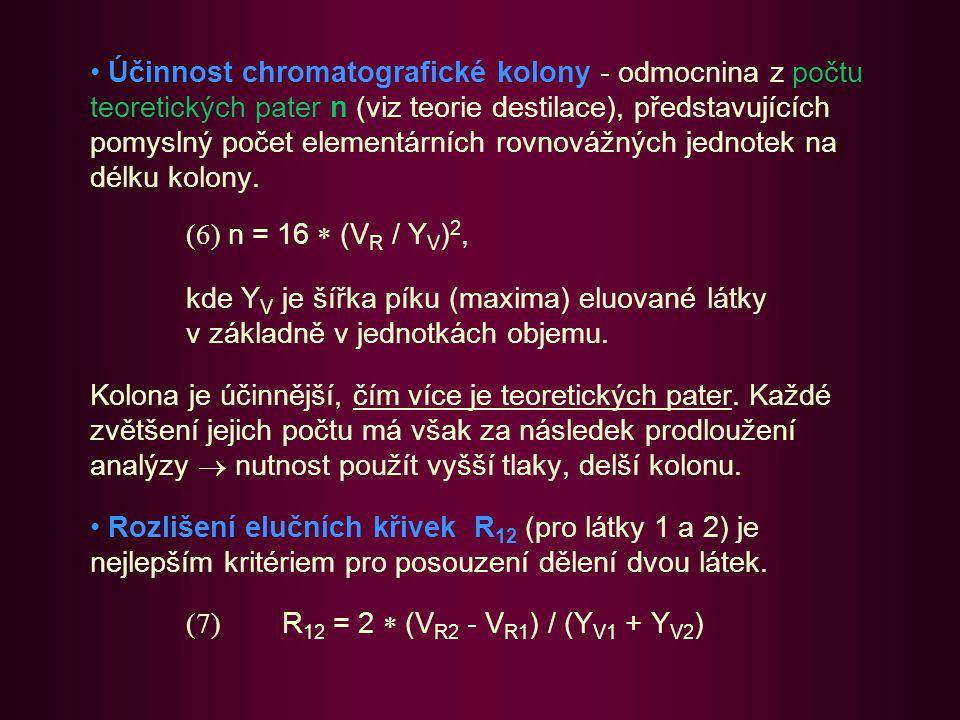 Účinnost chromatografické kolony - odmocnina z počtu teoretických pater n (viz teorie destilace), představujících pomyslný počet elementárních rovnovážných jednotek na délku kolony.