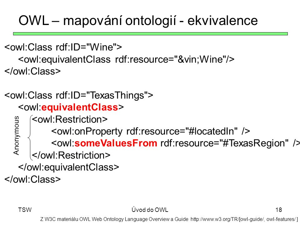 OWL – mapování ontologií - ekvivalence