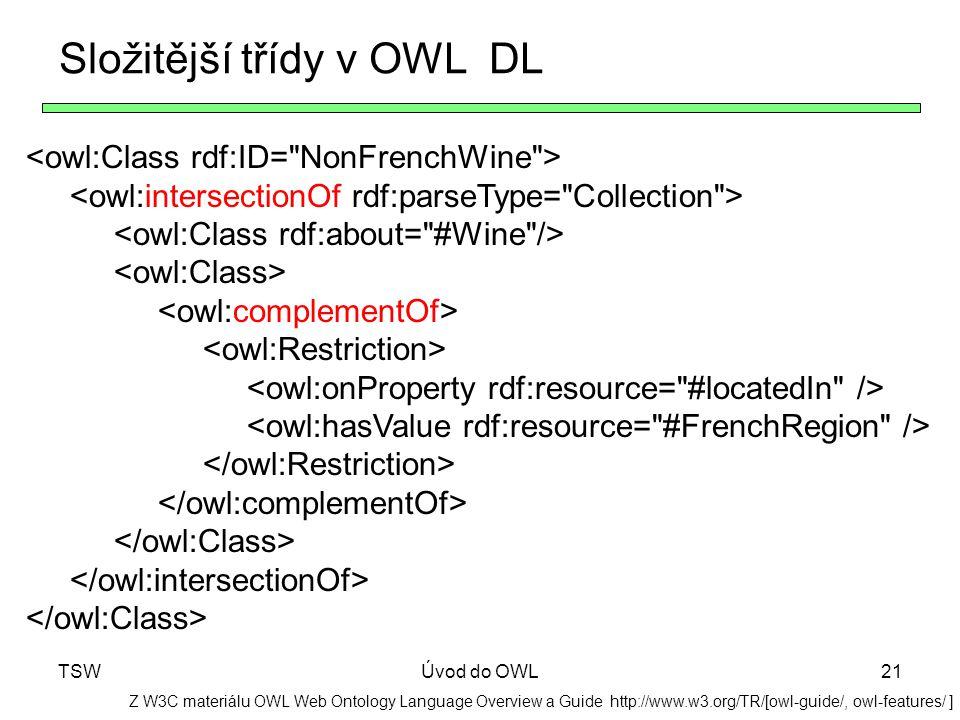 Složitější třídy v OWL DL