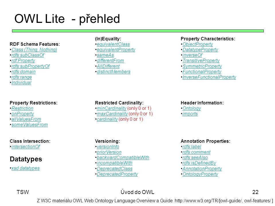 OWL Lite - přehled Datatypes TSW Úvod do OWL Sémantický web